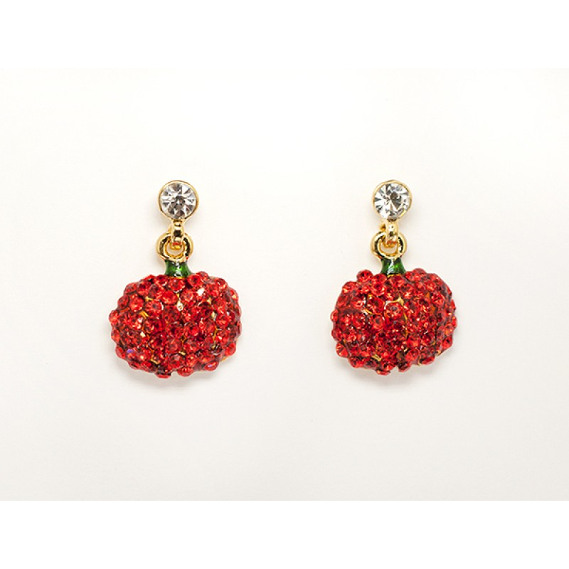 Austrian Crystal Solid Pumpkin Pin with Clear Stone Earrings - Item #E0682