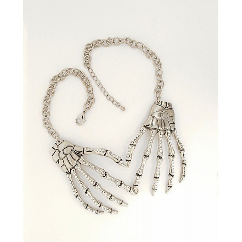 Austrian Crystal Bone Hands Necklace - Item #FN-12016-5CL - 18 - 20 in.