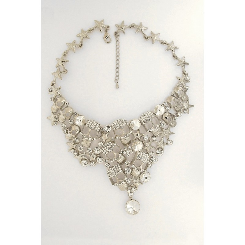 Austrian Crystal Skull Necklace/Earrings Set - Item #FNE-11864-3CL - 18 in.