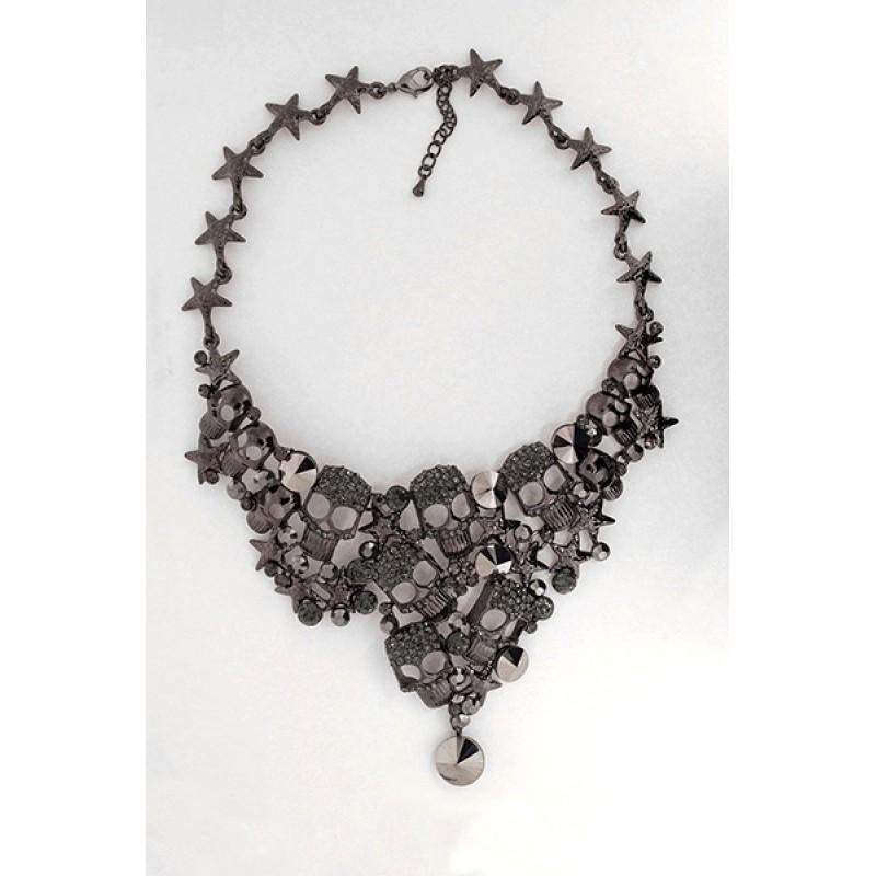 Austrian Crystal Skull Necklace/Earrings Set - Item #FNE-11864-4BK - 18 in.