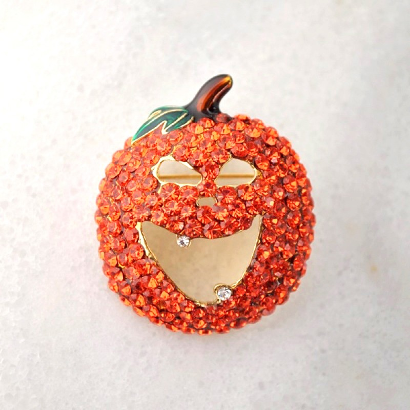 Austrian Crystal Pumpkin Pin - Item #P1684 -1 1/2 in.