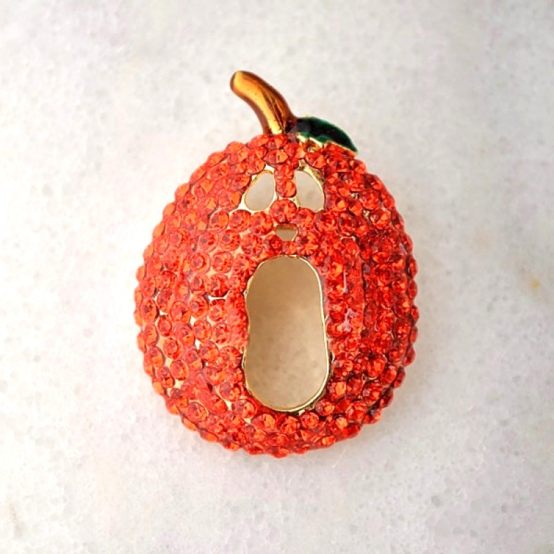 Austrian Crystal Pumpkin Pin - Item #P1687 - 1 3/4 in