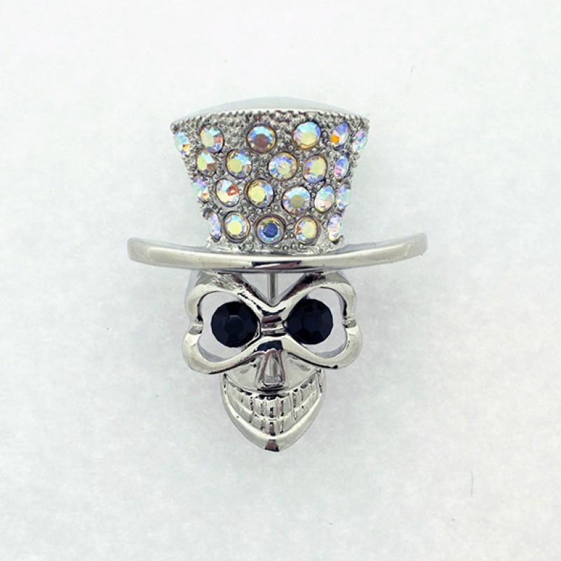 Austrian Crystal Skull and Top Hat Halloween Pin - Item #UB729