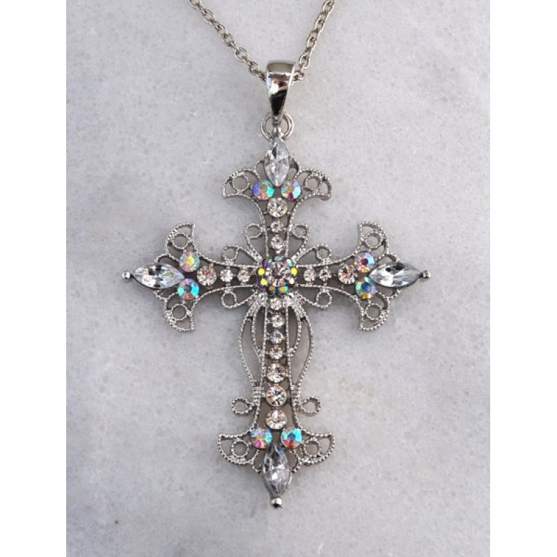 Austrian Crystal Cross Necklace - Item #10937 - 2 1/2 in. x 3 1/2 in  w/ 16 in. +3 in. chain
