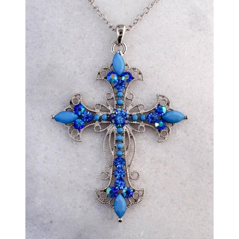 Austrian Crystal Cross Necklace - Item #10937 - 2 1/2 in. x 3 1/2 in  w/ 16 in. +3 in. chain