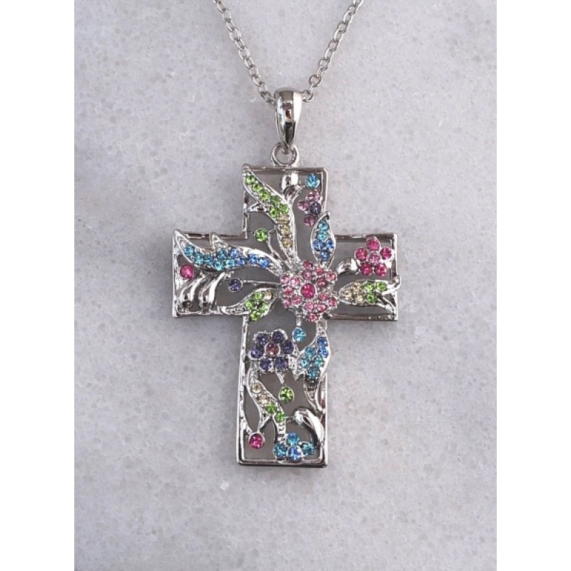 Austrian Crystal Cross Necklace - Item #EASTC - 16 in. + 2 in. Chain