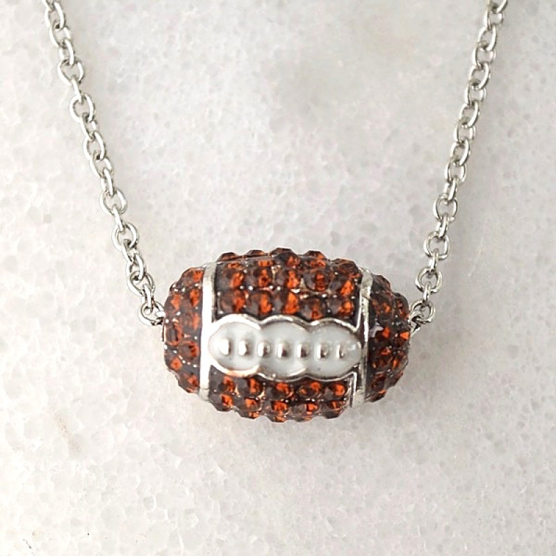Austrian Crystal Football Charm and Necklace - Item #FN-12844-3BR