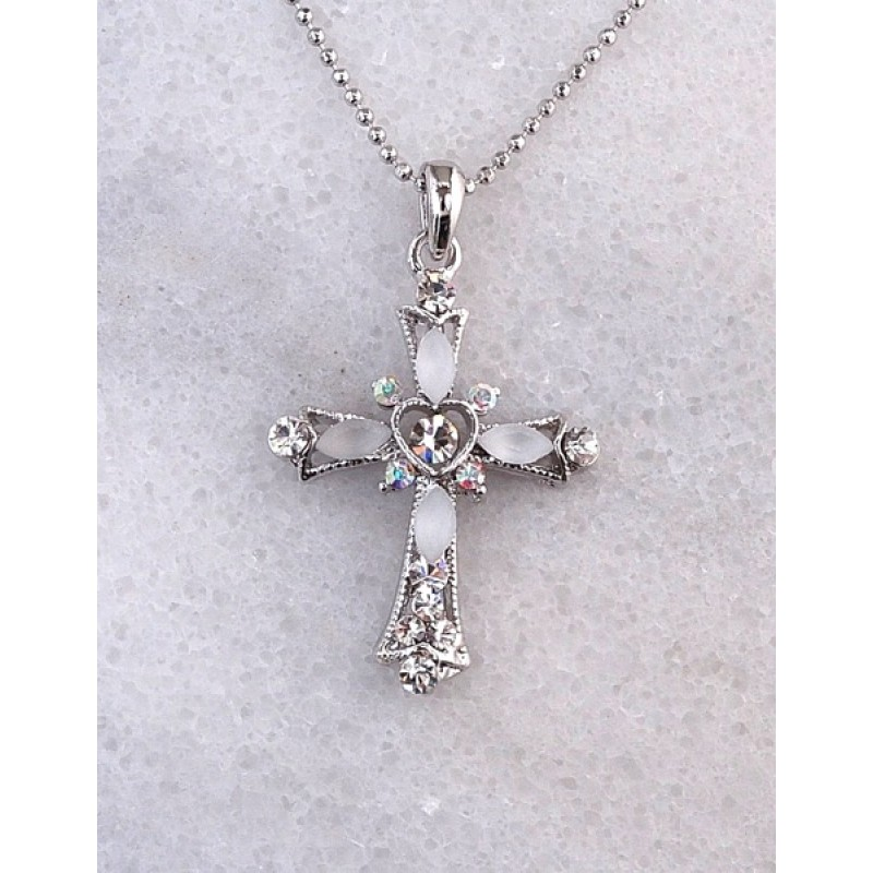 Austrian Crystal/ Cabochon Cross Necklace 1 1/4 in x 2 in Cross + 18in chain