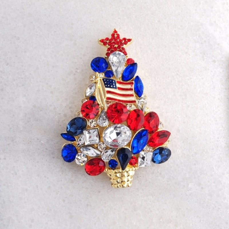 4th of July Christmas Tree Pin - Item 432579 - 1 1/2 in. x 2 1/4 in.