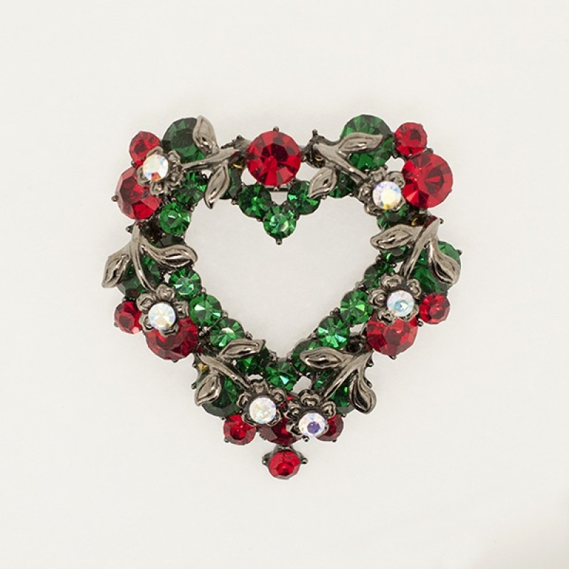 Austrian Crystal Christmas Heart Pin - Item #BC0121