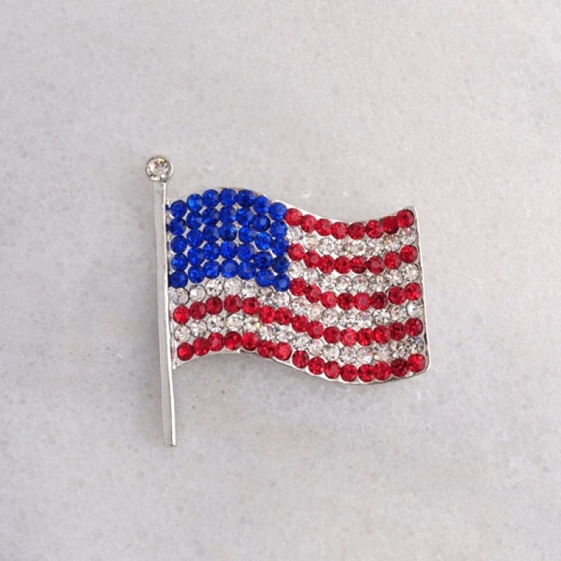 Austrian Crystal American Flag Pin - Item #BH6550 - 1 1/2 in. x 1 1/2 in.