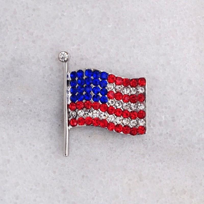Austrian Crystal American Flag Pin - Item #BH6551 - 1 1/4 in.  x 1 in.