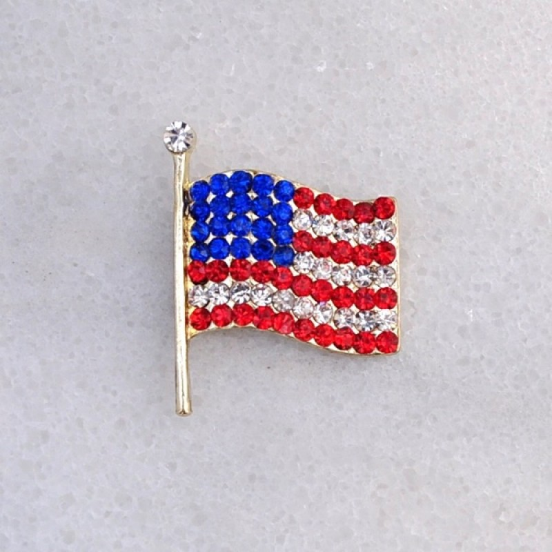 Austrian Crystal American Flag Pin - Item #BH6551 - 1 1/4 in.  x 1 in.