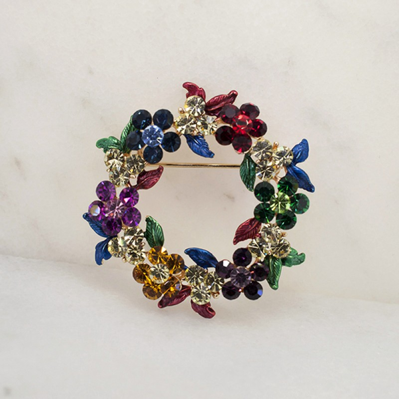 Austrian Crystal Spring Wreath Pin - Item #BRWTH 1.75""