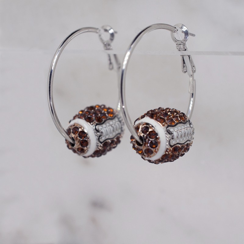 "Austrian Crystal Football Hoop Earrings (1.25"" Hoop with 3/4"" x 9/16"" Football) - Item E1719RSMT"