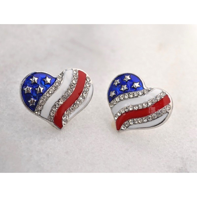 Austrian Crystal Red/White/Blue Heart Earrings - Item # EP6642 - 7/8 in x 3/4 in