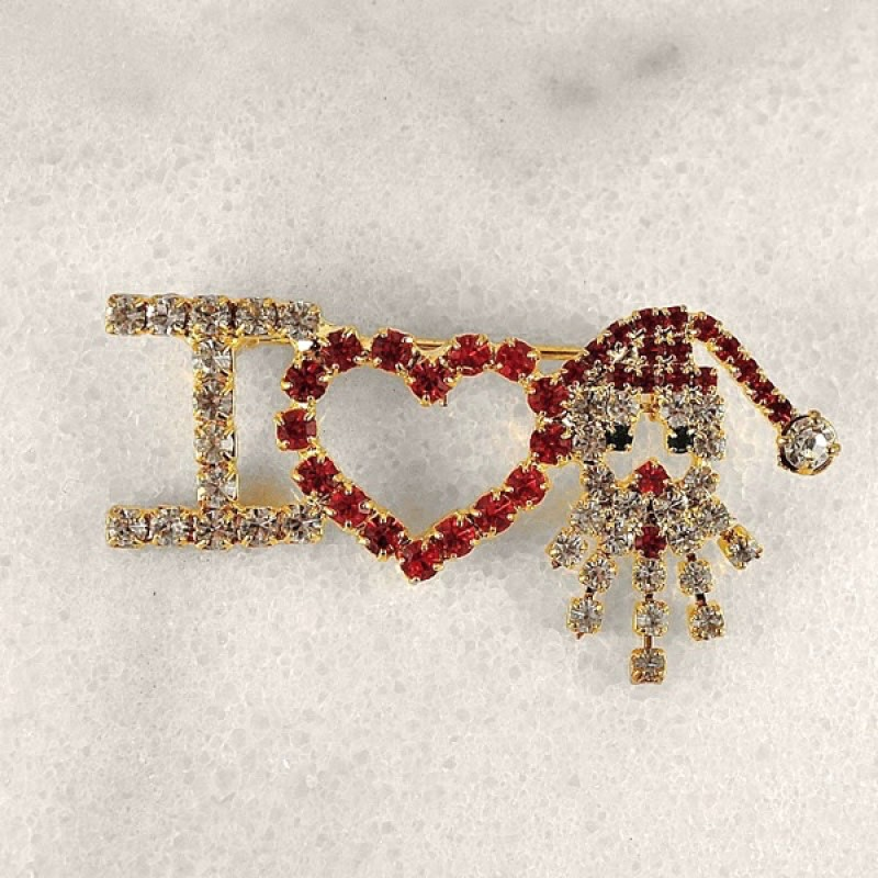 "Swarovski Element I Love Santa Pin 2 1/4"" W x 1"" L"