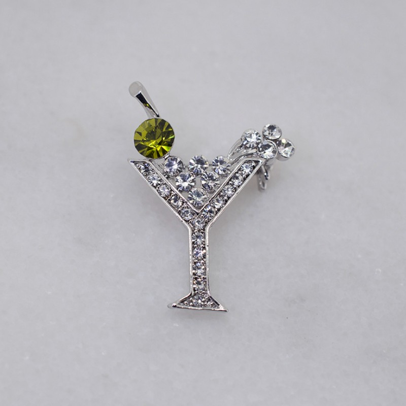 "Austrian Crystal Martini Glass Pin (1"" x 1 3/8"") - Item KK31"
