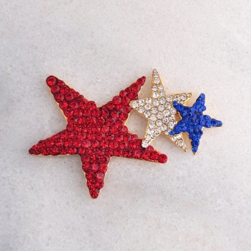 Austrian Crystal Red, White and Blue Tri-Star  Pin - Item #P0561 - 2 1/2 in.  x 1 3/4 in.