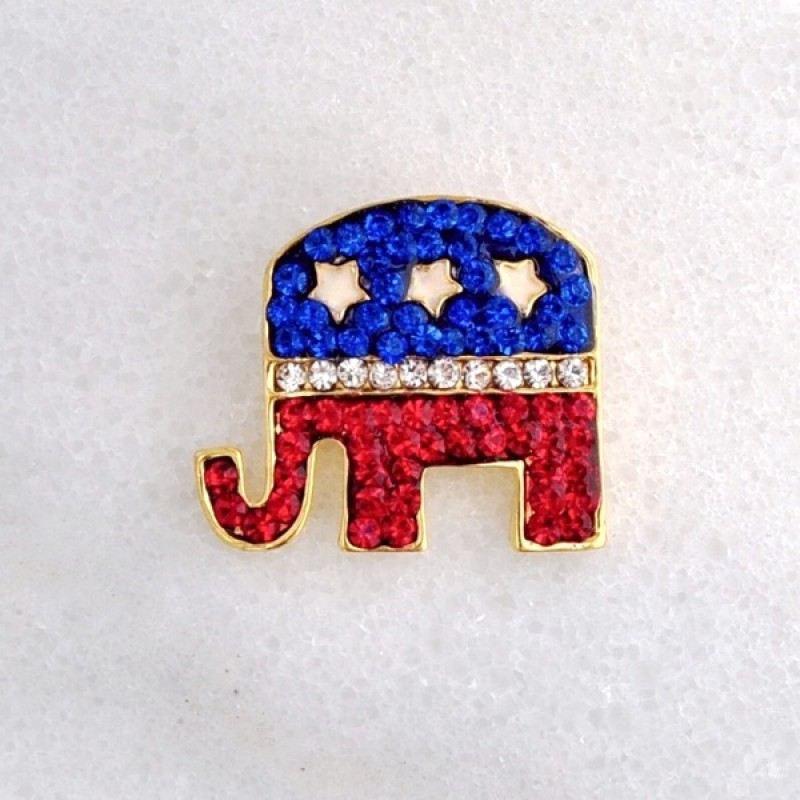 Austrian Crystal Republican Party Mascot Pin - Item #P1904 - 1 in. x 1 in.