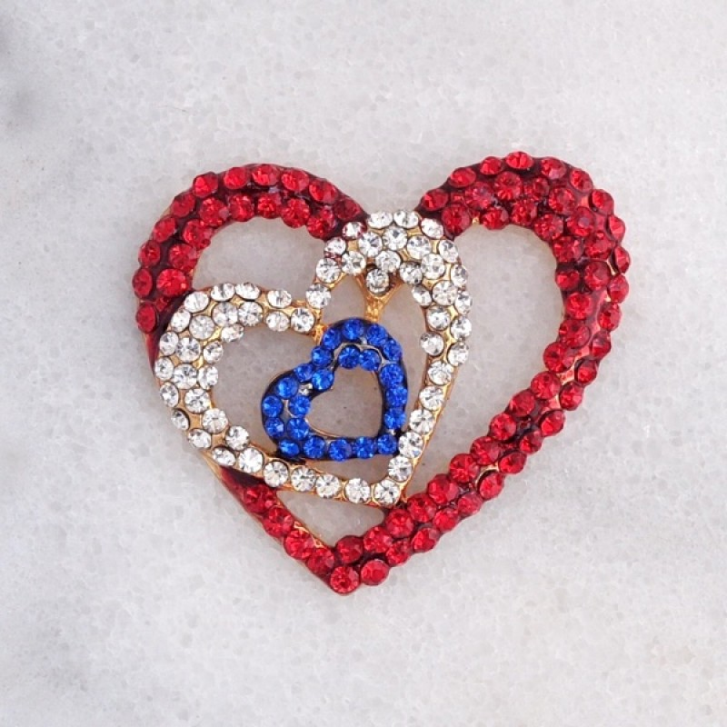 Austrian Crystal Red, White and Blue Triple Heart Pin - Item #P1910 - 2 in. x 2 in.