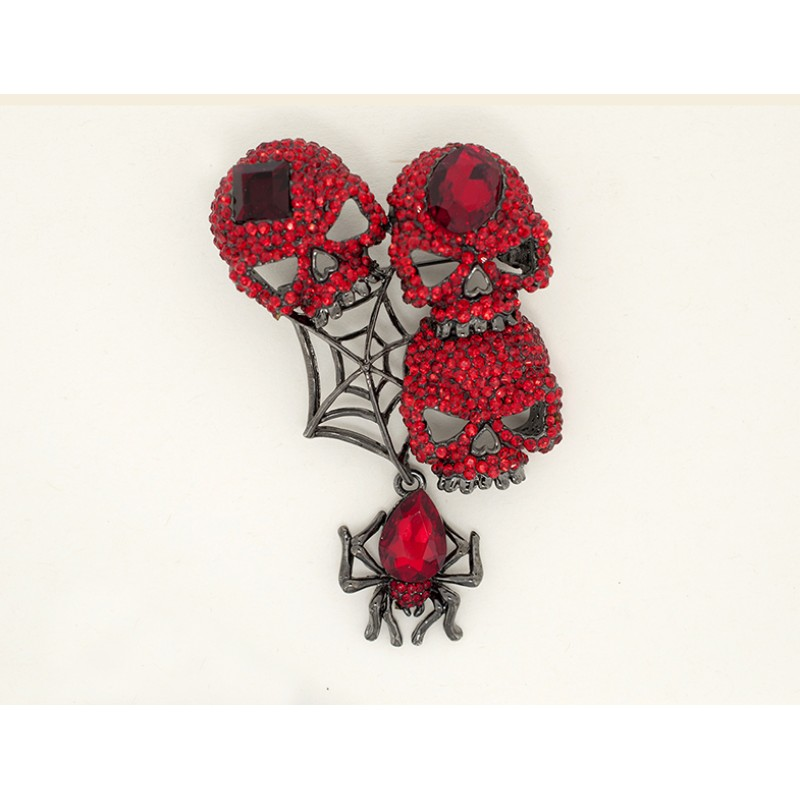 Austrian Crystal 3-Skulls and Spider Web Halloween Pin - Item #P5565RD