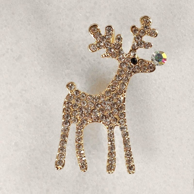 Austrian Crystal Rudolph Reindeer Pin w/ AB Stone Nose - Item #RUDOLPHPIN1- 1 1/4 in. x 2 in.