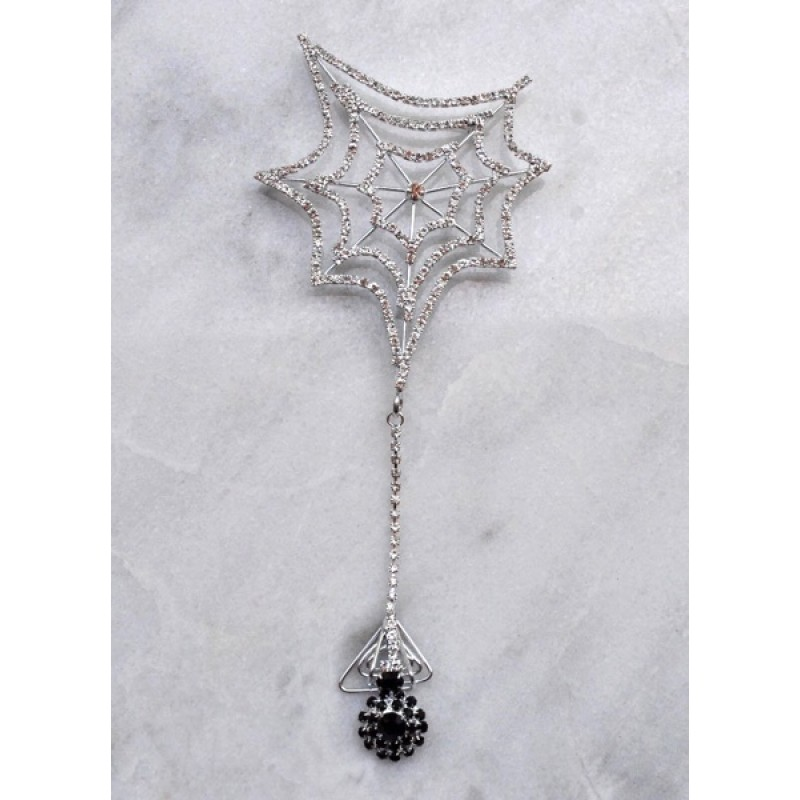 "Austrian Crystal Spider Web W/ Dangling Black Spider - Item #SPIDPIN1 - 2 3/4"" x 6 1/2"""