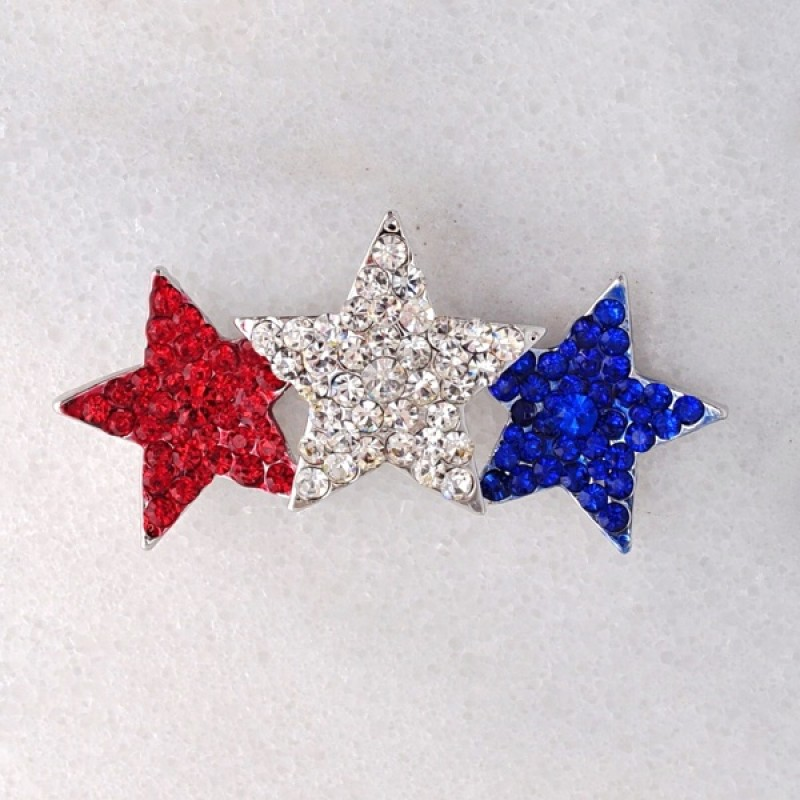 Austrian Crystal Red, White and Blue Silver 3 star pin - Item #UB2513RWB - 2 1/2 in. x 1 1/4 in.