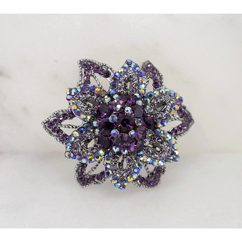 Austrian Crystal Floral Broach Pin - Item# VEFLW 2.5""