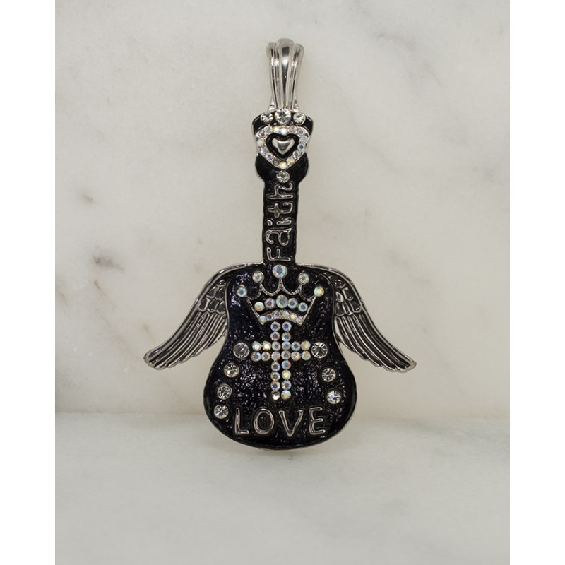 Austrian Crystal Faith and Love Magnetic Guitar Pendant - Item# UN222N