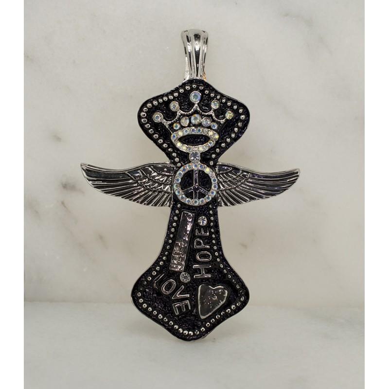 Austrian Crystal Love Hope and Faith Magnetic Cross Pendant - Item# UN223N