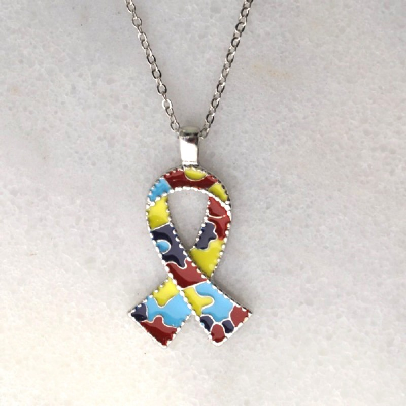 Enameled Autism Awareness Earring and Necklace Set  - Item #135015 (Earrings are 1 in. Necklace 18 in plus 2 in)