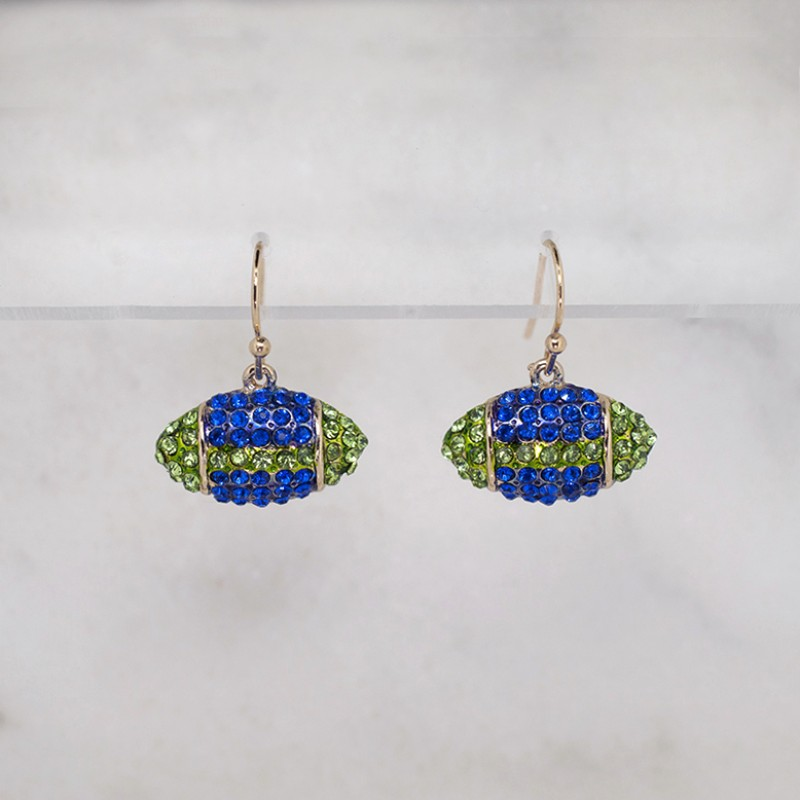 Austrian Crystal Seahawks Football Earrings (Small) - Item HE1035