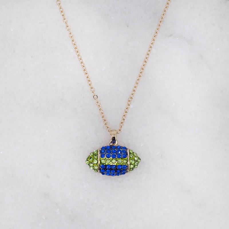 Austrian Crystal Seahawks Football Necklace (Small) - Item HN1819