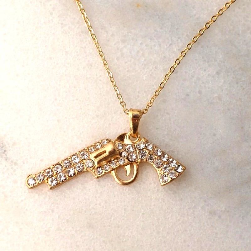 Austrian Crystal Gun Necklace - Item #N2257 - 18 in.