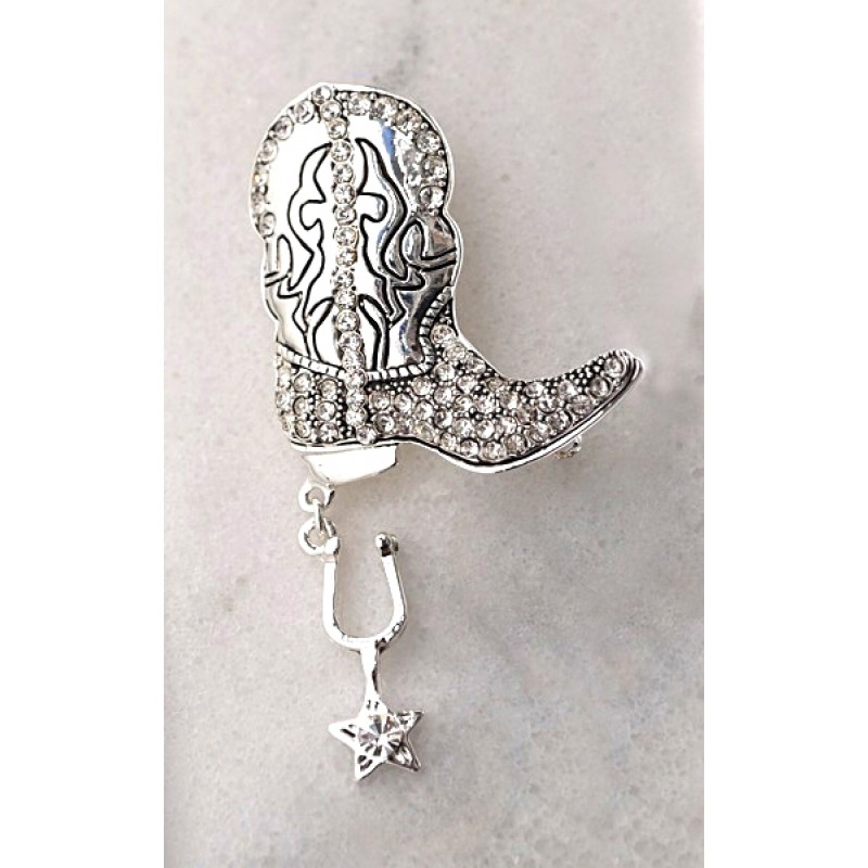 Austrian Crystal Cowboy Boot Pin - Item #UB739 - 1 1/2 in. X 2 3/4 in.