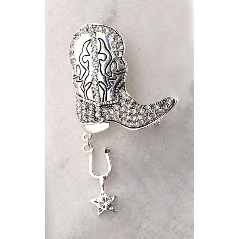 Austrian Crystal Cowboy Boot Pin - Item #UB739 - 1 1/2 in. X 2 3/4 in.