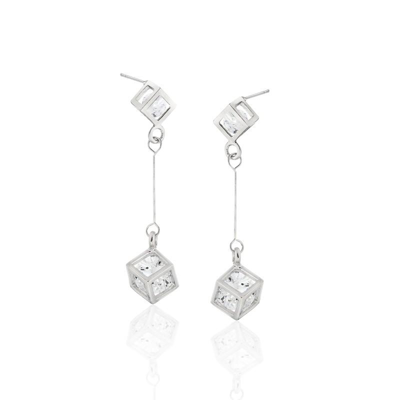 CZ Teardrop Cube Earrings - Item# E1481