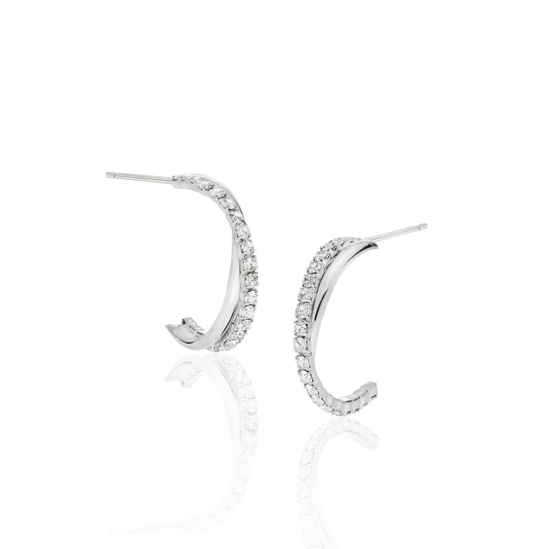 CZ Twist Half-Hoop Earrings - Item# E1488