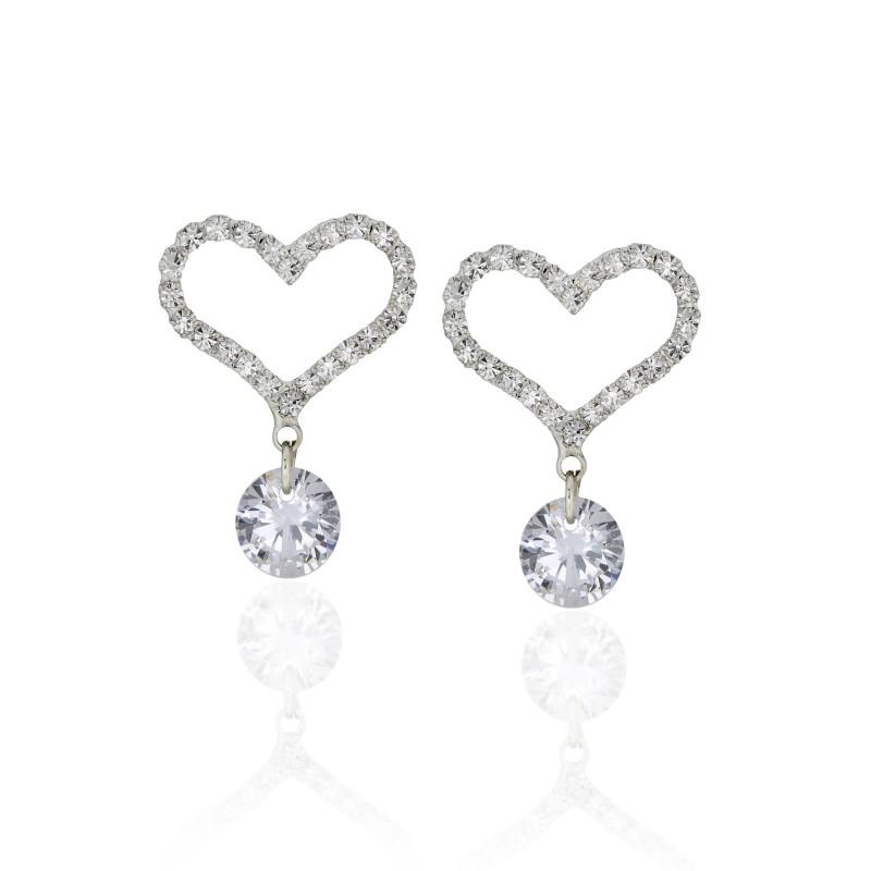 Embellished Heart CZ Earrings - Item# E1489