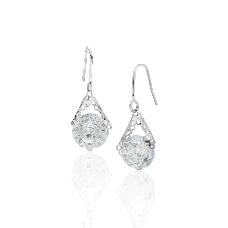 Flower Drop CZ Hook Earrings - Item# E1491