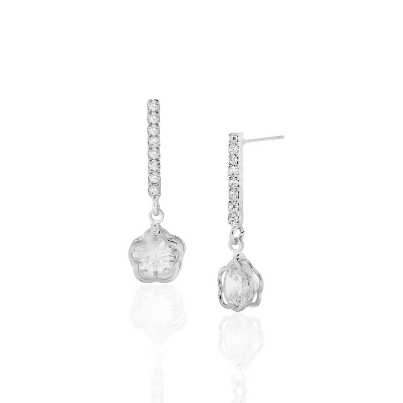 CZ Flower in Orbit Earrings - Item# E1500