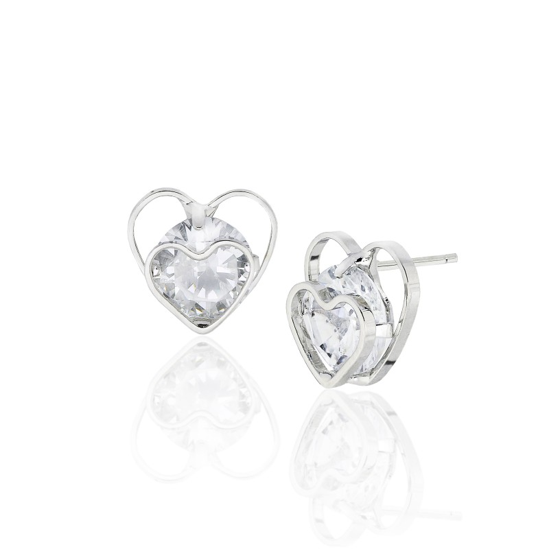 Double Heart Outline CZ Earrings - Item# E1503