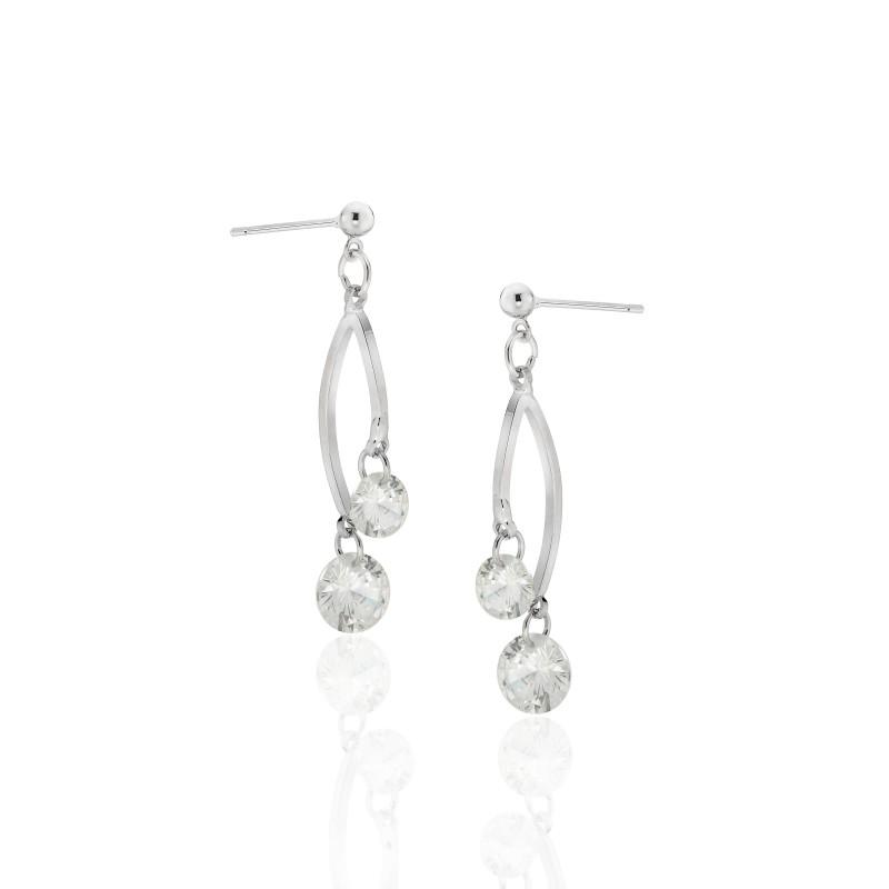 Double CZ Post Dangle Earrings - Item# E1504