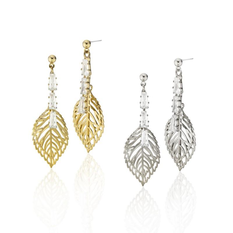 Baguette CZ Double Leaf Post Dangle Earrings - Item# E1534