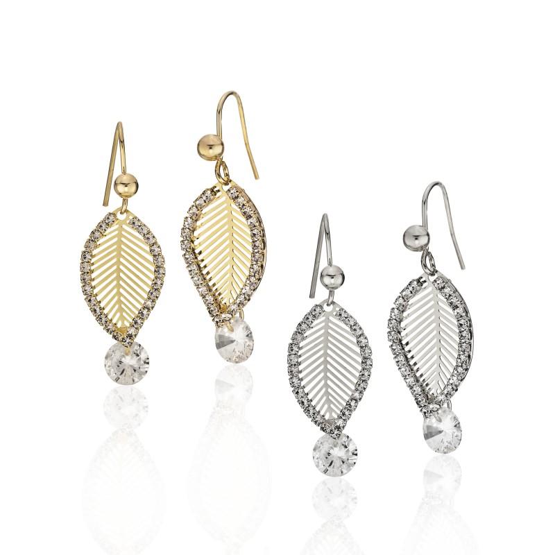 CZ Embellished Leaf Hook  Earrings - Item# E1536