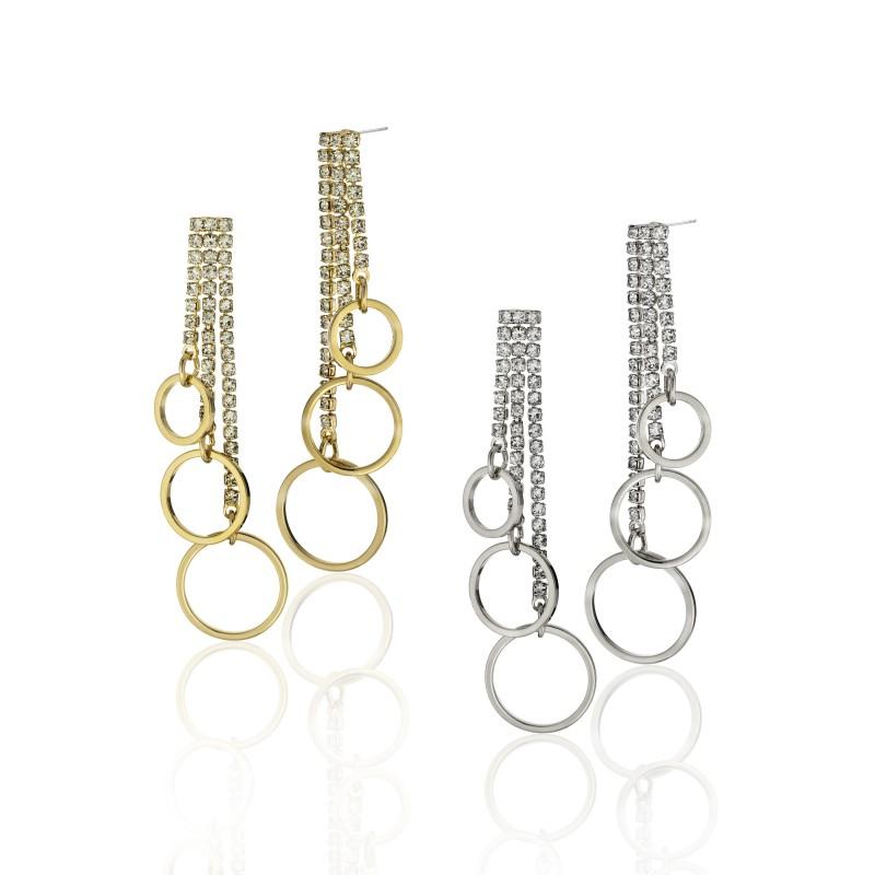 CZ Embellished Three Ring Post Earrings - Item# E1538
