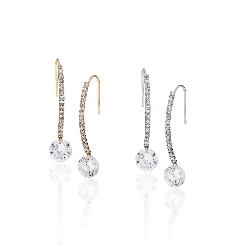 CZ Embellished Wire Hook Earrings - Item# E1540