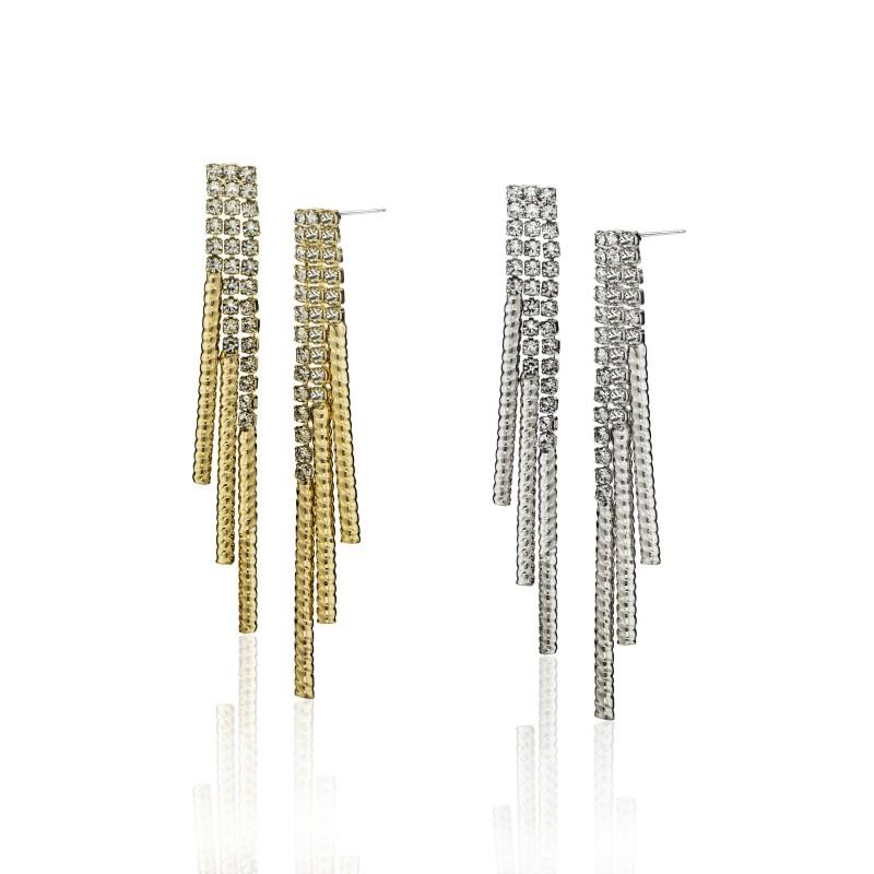 CZ Embellished Triple Strand Post Dangle Earrings - Item# E1541